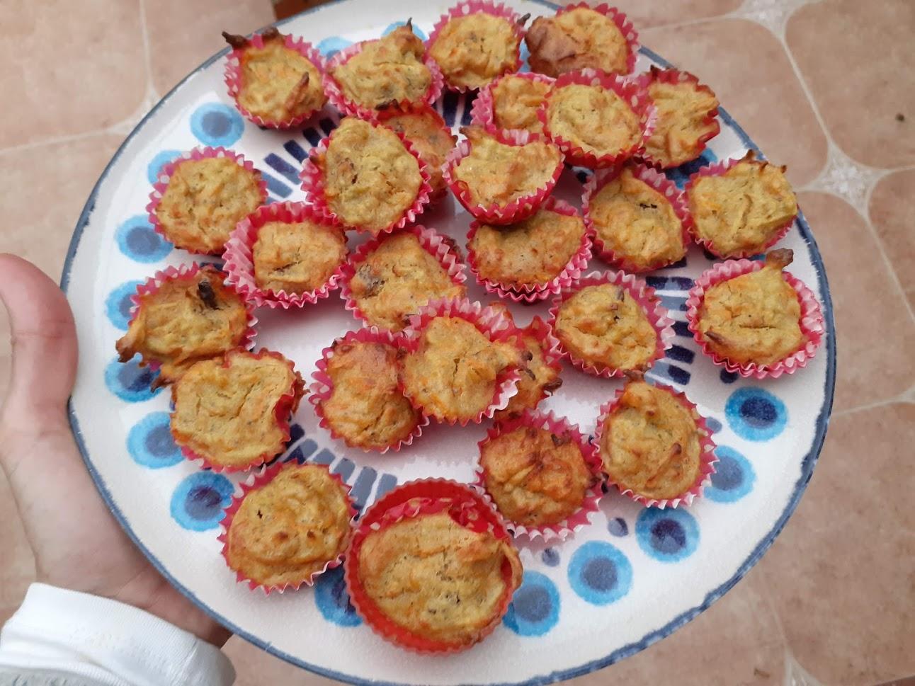 Magdalenas de manzana y zanahoria, receta blw.
